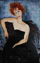 Red headed girl in evening dress - oil painting reproduction